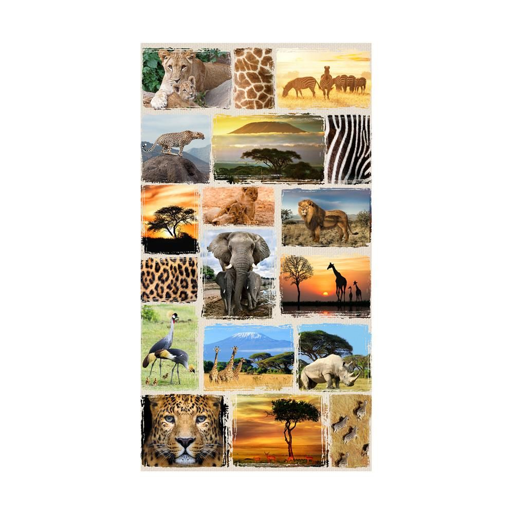 Hoffman Digital Wild Kingdom 24 Safari Animal Collage Panel Savannah In 2020 Wild Kingdom Safari Animals Digital Print Fabric