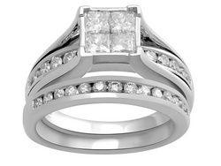 10k Wg 1.50ctw Pc/Rd Diamond Bridal Set $1399.99