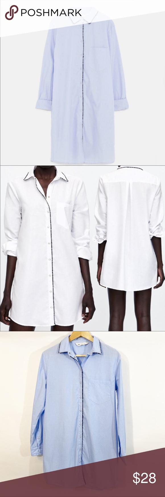 Zara Blue Button Down Shirt Dress Button Down Shirt Dress Collared Shirt Dress Shirt Dress [ 1740 x 580 Pixel ]
