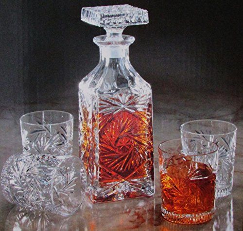 German Made Handcrafted 5 Pc Wiskey / Liquor Decanter Bar Set Crystal Clear Signatures http://www.amazon.com/dp/B01111W4IW/ref=cm_sw_r_pi_dp_RH6zwb1D39TGS