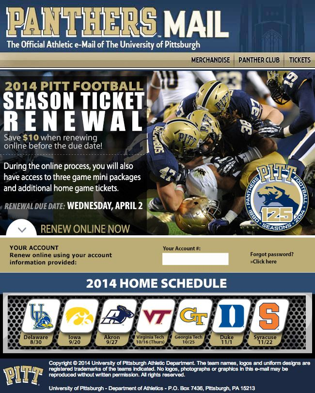Pittsburgh Season Renewals With Online Savings Incentive Powered By Paciolan College Athletics Season Ticket Game Tickets