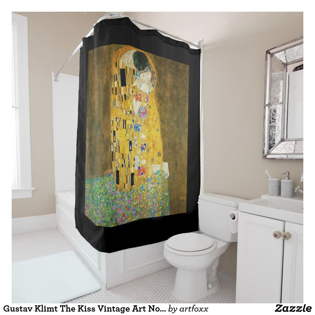 Gustav Klimt The Kiss Vintage Art Nouveau Painting Shower Curtain