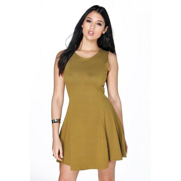 92fd7fcd5e8 Boohoo Basics Sara Seam Detail Skater Dress ( 16) ❤ liked on Polyvore  featuring dresses