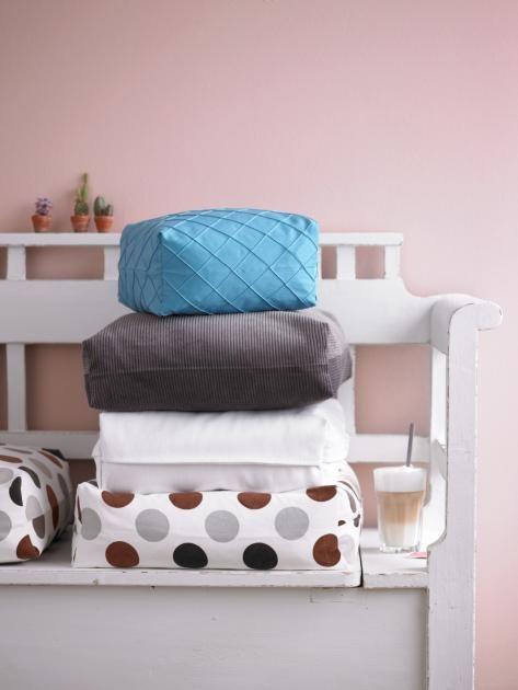 aus einfachen kissen werden dicke polster auflage n hen kissen und kissenbezug n hen. Black Bedroom Furniture Sets. Home Design Ideas