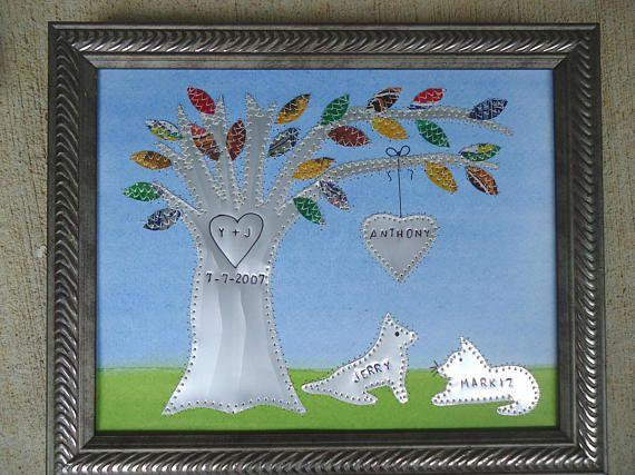 10 Year Anniversary Wedding Gift Aluminum Ten Year Gift Hearts