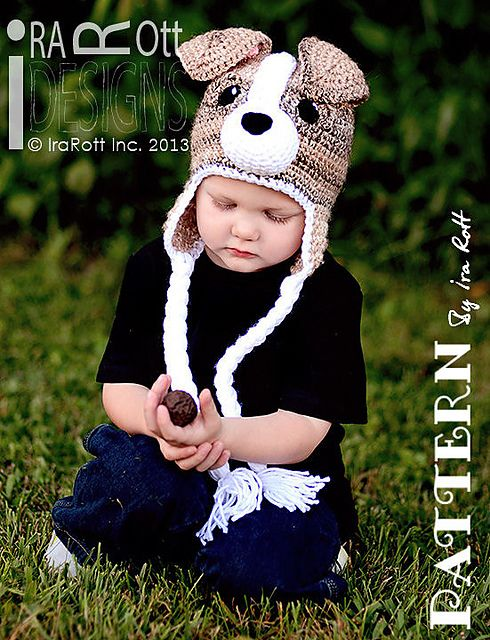 Buddy the Jack Russell Terrier Puppy Dog Hat PDF Crochet Pattern