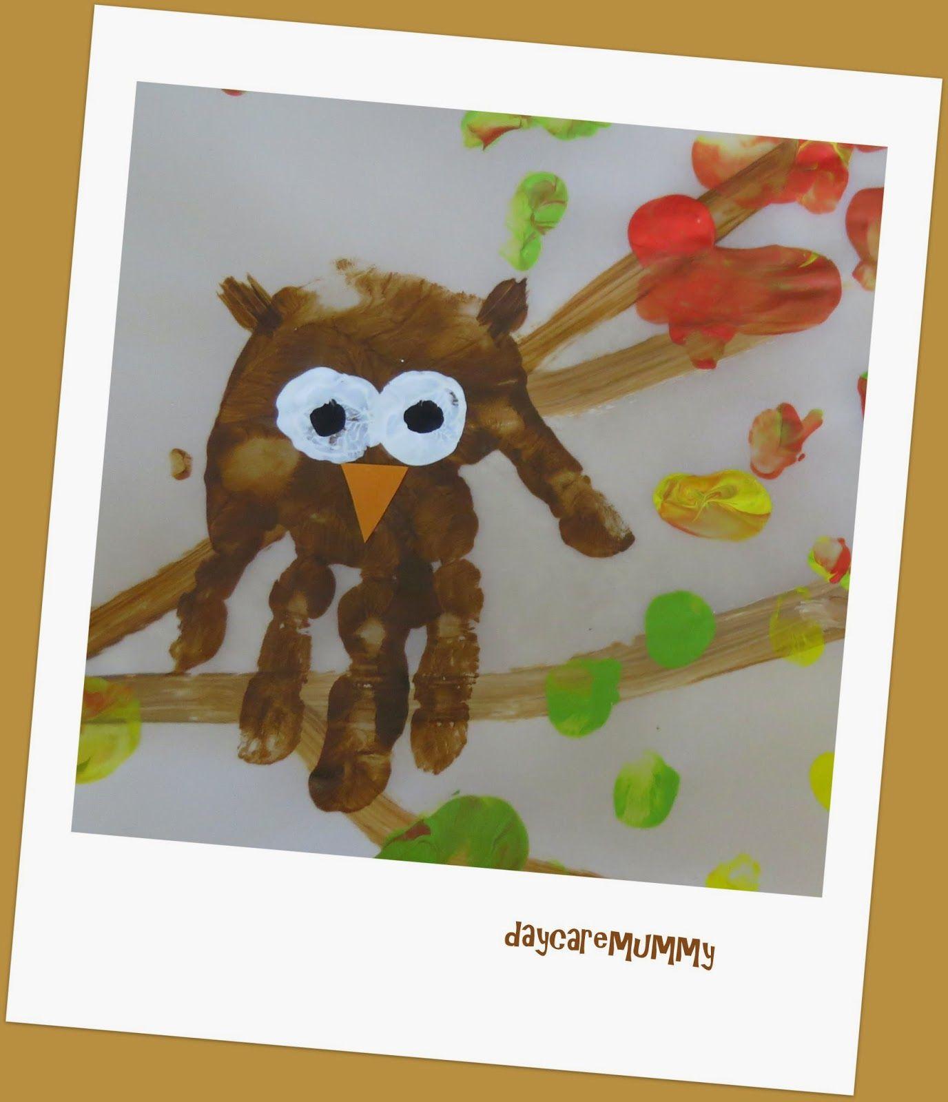 Daycaremummy Eulen Handabdruck Birthdays Pinterest Hande
