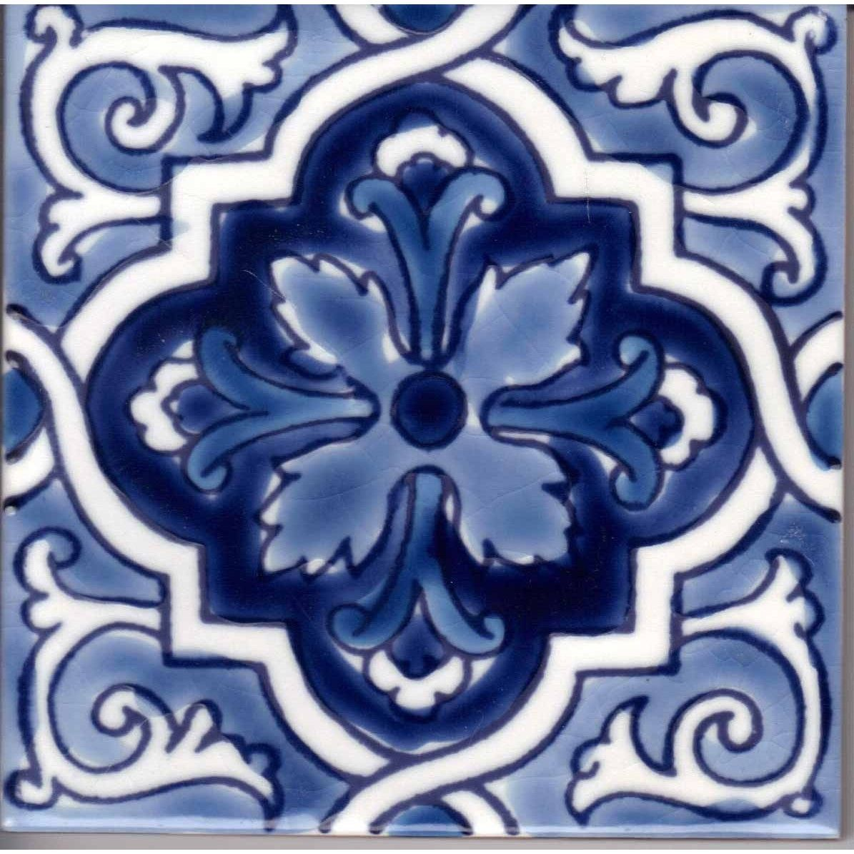San Diego Blue Handpainted Ceramic Tile Hand Painted Ceramics Ceramic Tiles Painting Ceramic Tiles