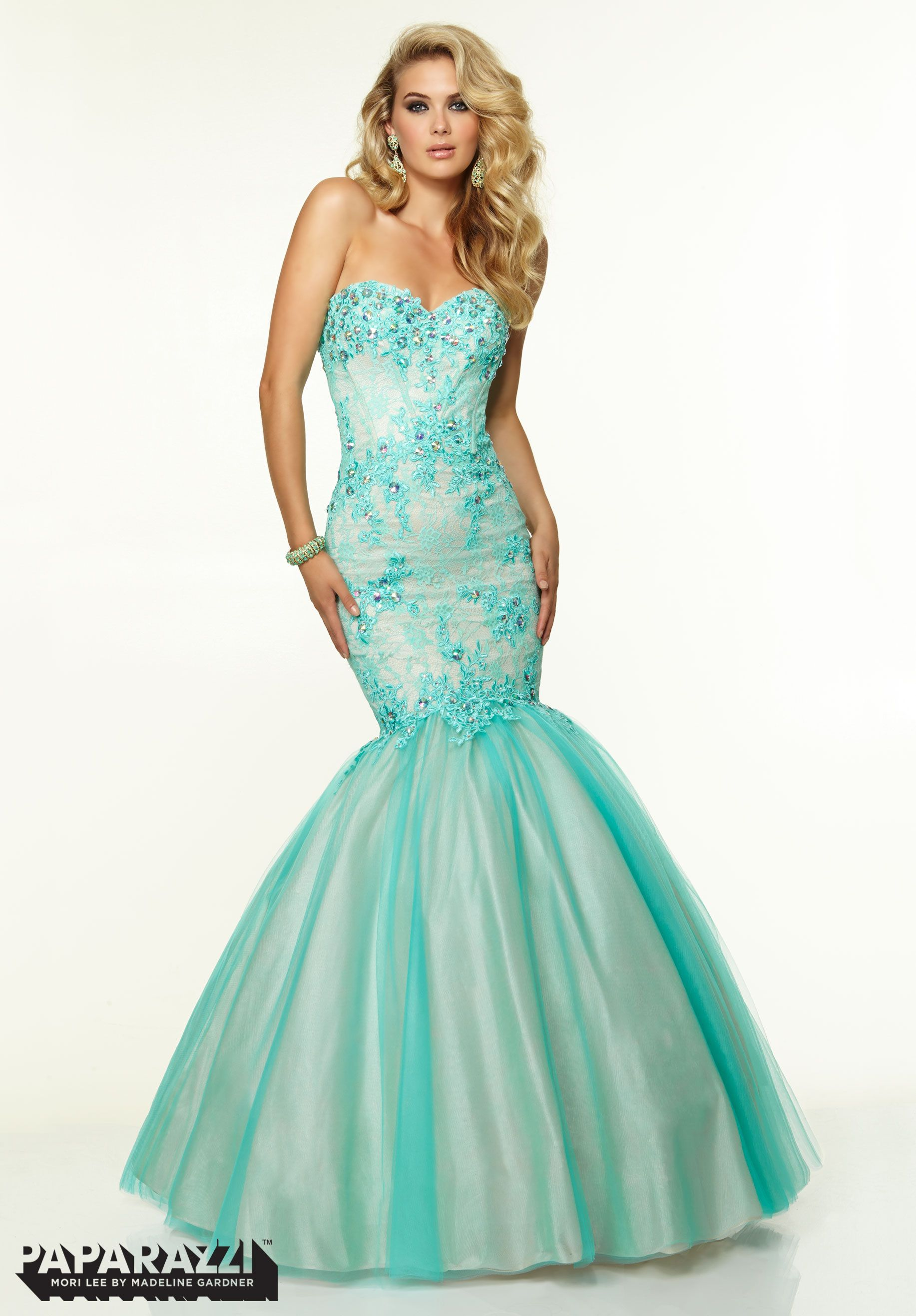 Prom dresses gowns style lace with jeweled beading on