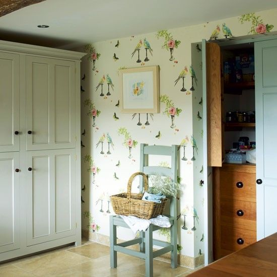 Shaker Style Cabinetry, Perroquet Wallpaper By Nina