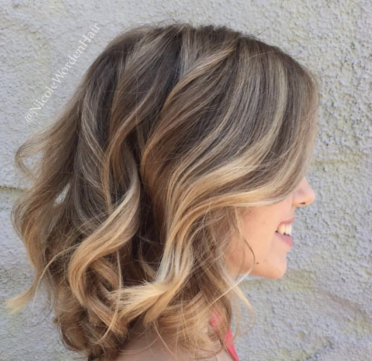 Nude beige waves balayage highlights on a beautiful long bob lob by