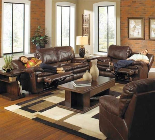Catnapper Perez 2 Piece Power Reclining Sofa Set In Chestnut