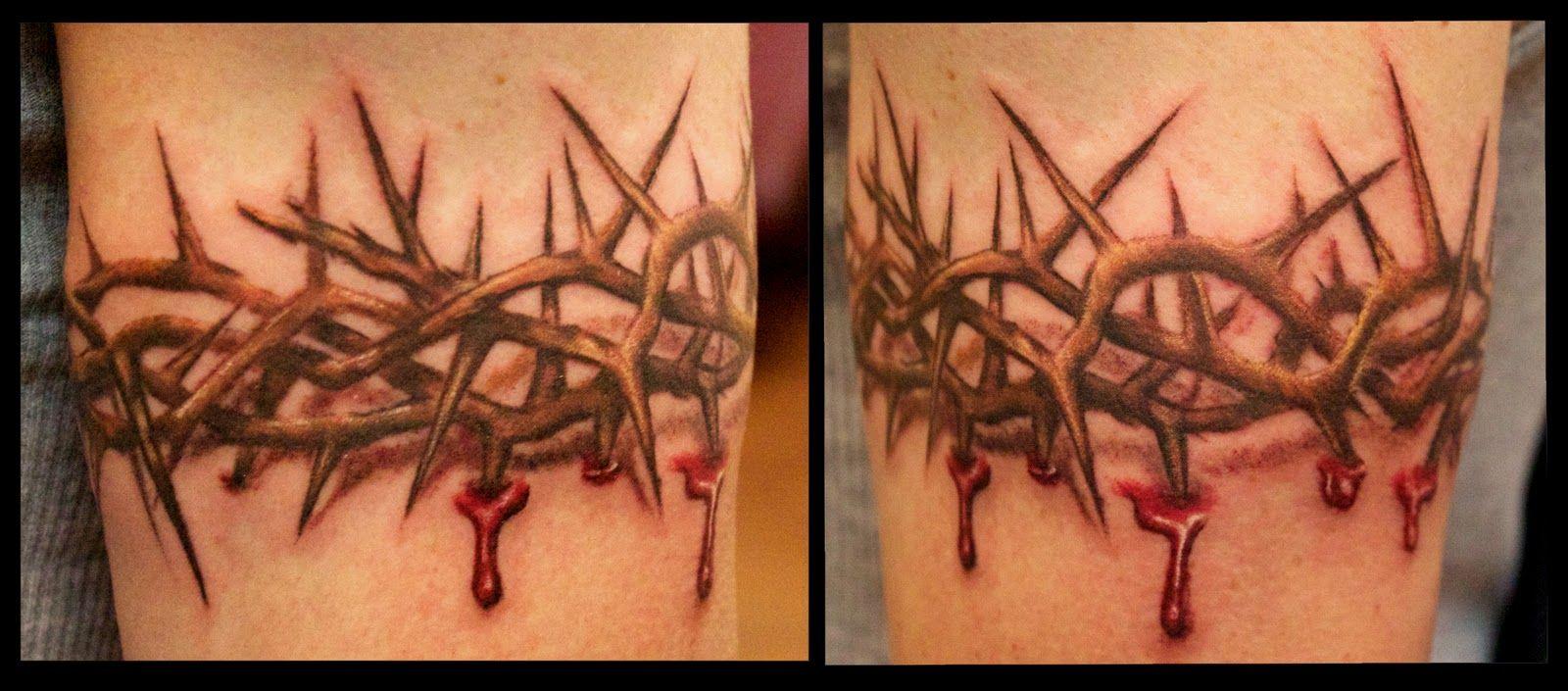 43c3b8838e94e And Embers Custom Tattooing: Crown of Thorns Blood Drip Armband Tattoo .