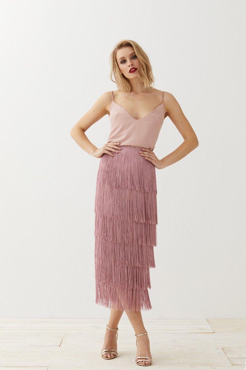 ff91a582f Vestido lencero rosa brocado flecos Clea