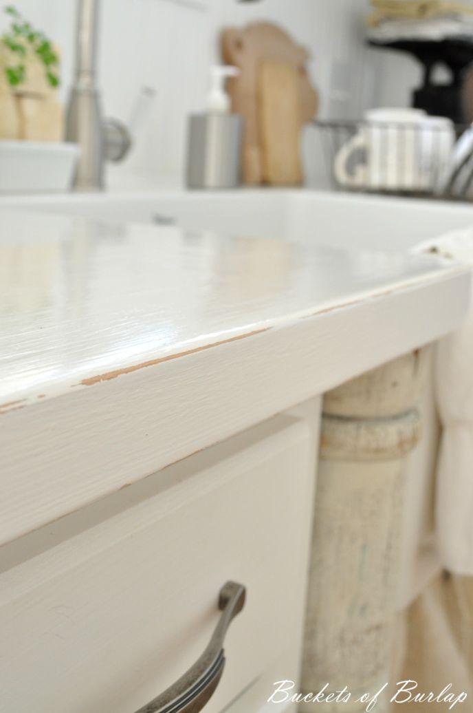 "Farmhouse kitchen with white painted countertops. ""Bistro ..."