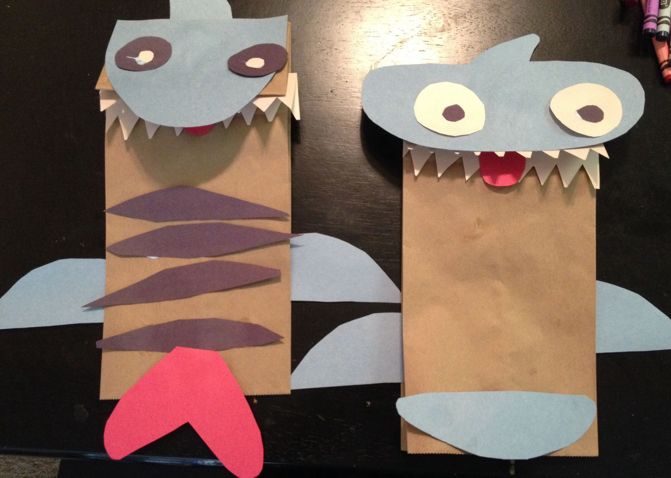 tiger shark and hammerhead shark paper bag puppets crafts tiger shark and hammerhead shark paper bag puppets