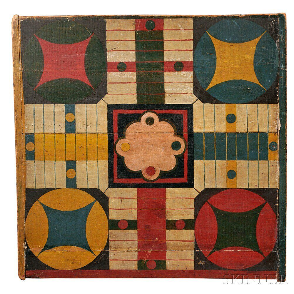 Painted Parcheesi Board, Late 19th Century, Painted In A Variety Of Bright  Colors,