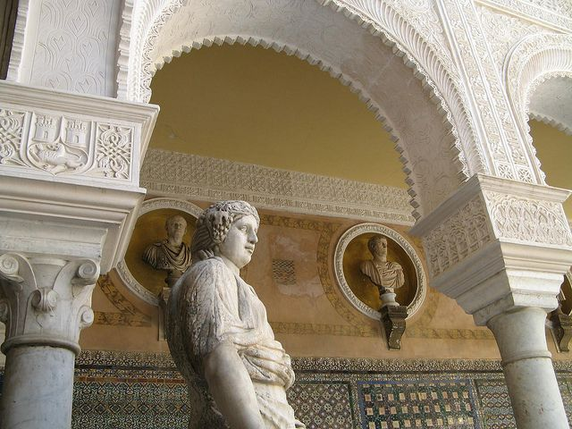Roman sculptures around the courtyard