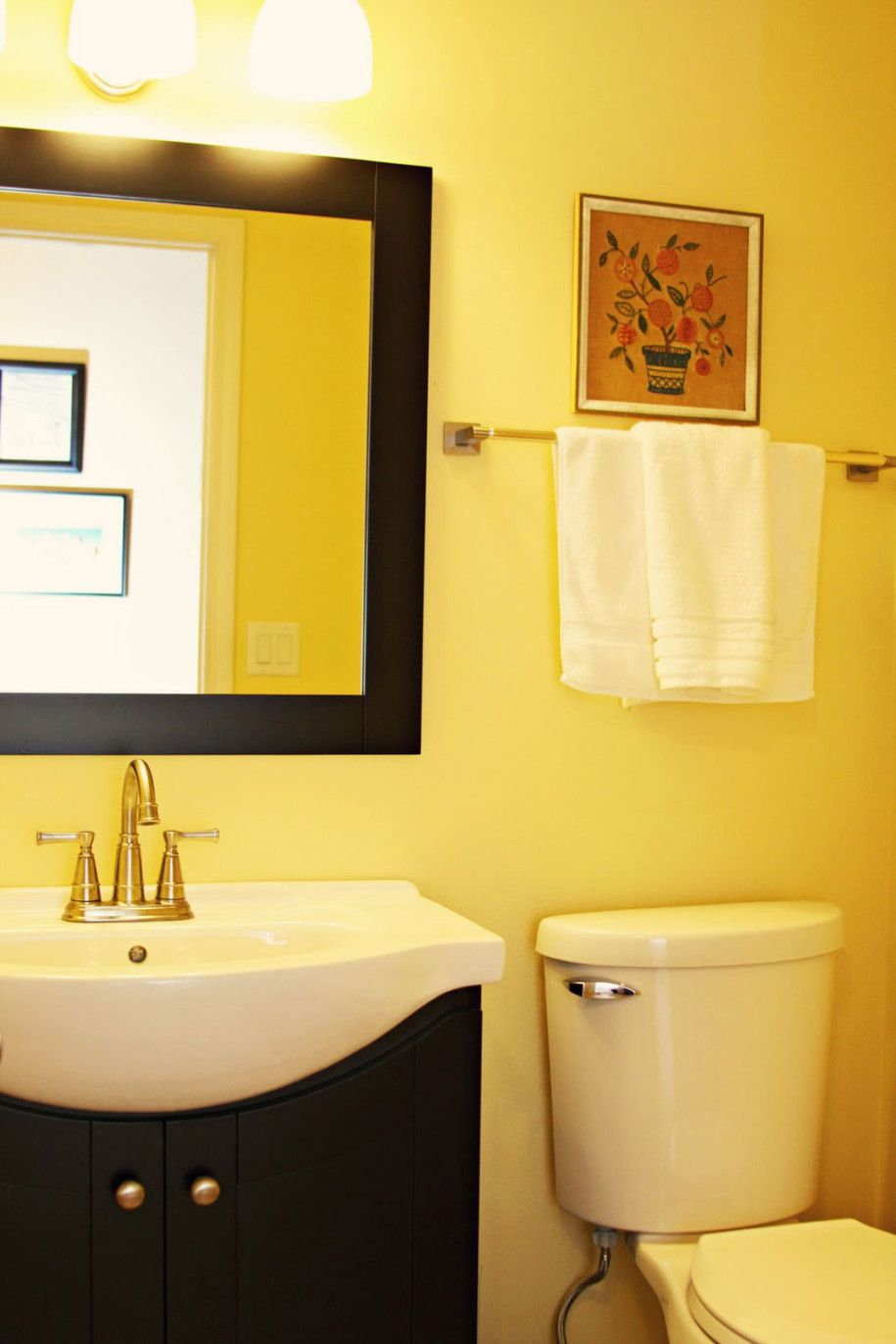 Bathroom Small Yellow Bathroom Decorating Ideas With White Sink