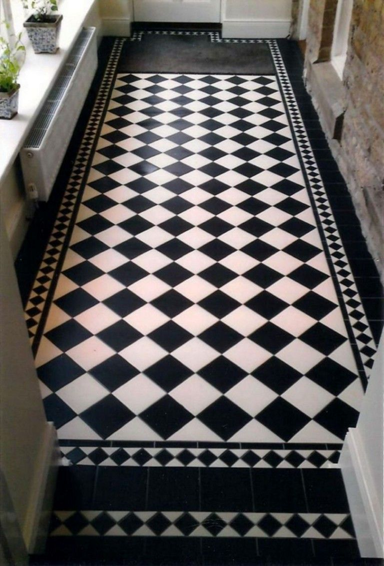 40 Elegant Black And White Floor Tile For Your Kitchen Design