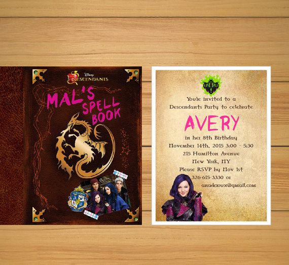 Descendants party invitations  Mal's Spellbook by BirthdayPartyBox