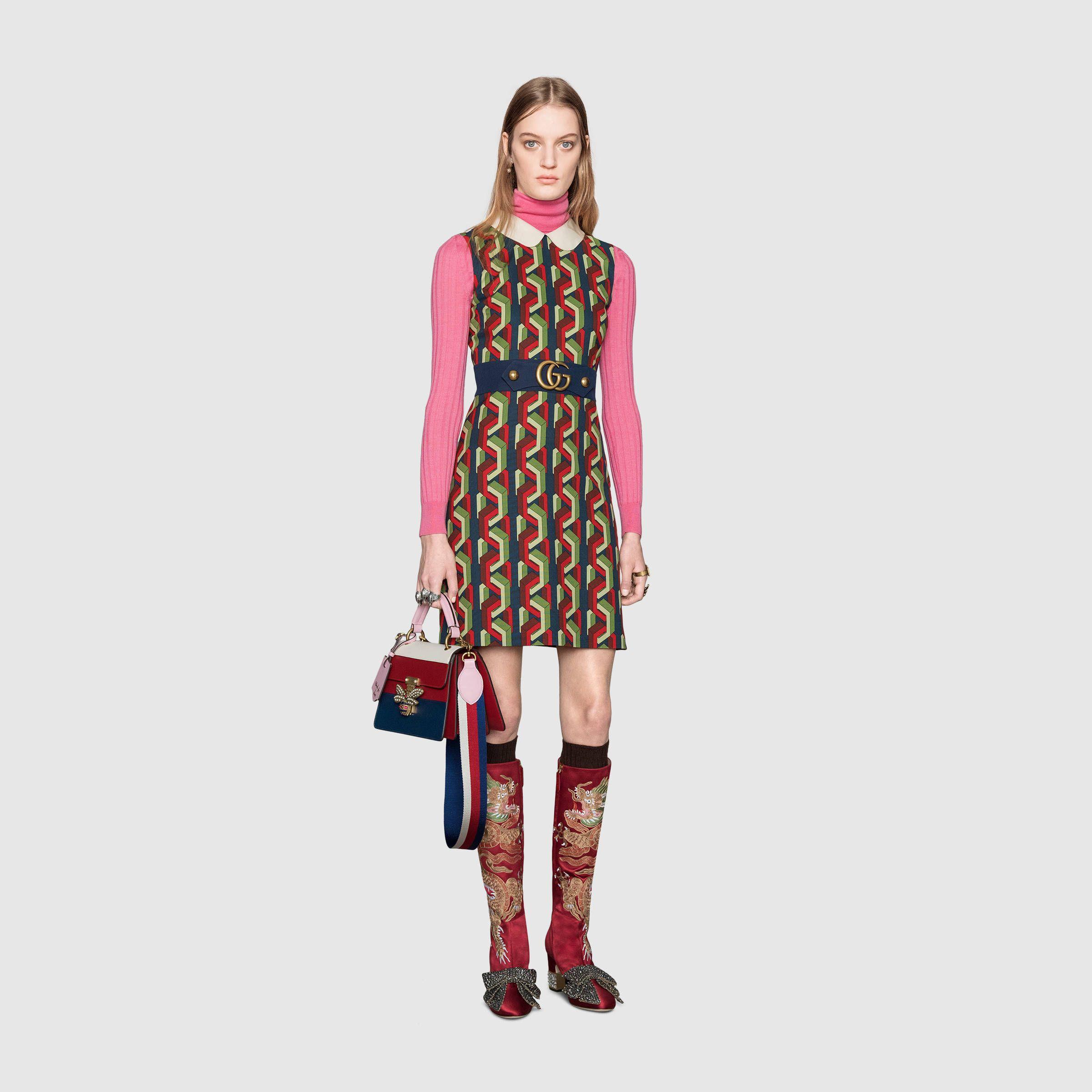 e550b2e629885 Gucci Web chain print dress Detail 2 | Gucci 2017 | Dresses, Long ...