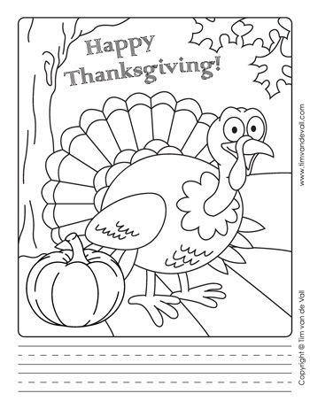 Thanksgiving Writing Template Black White 350 Materyal