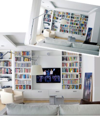 hiding tv in living room chairs and ottomans home library bookshelves hide the via donna moderna real