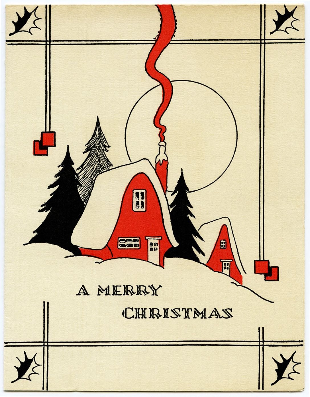 Free printable vintage christmas cards - Old Design Shop Free Printable Retro Red House Christmas Card