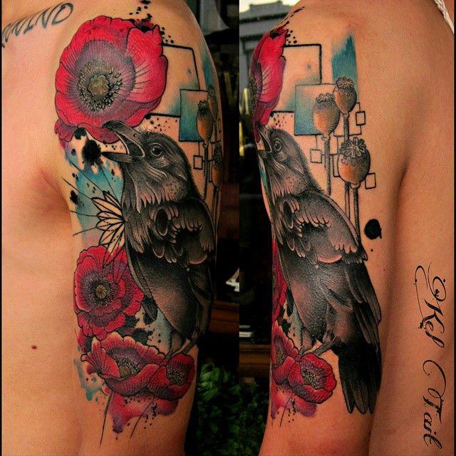 55 Inspiring Raven Tattoo Designs Check more at http://tattoo-journal.com/55-inspiring-raven-tattoo-designs/