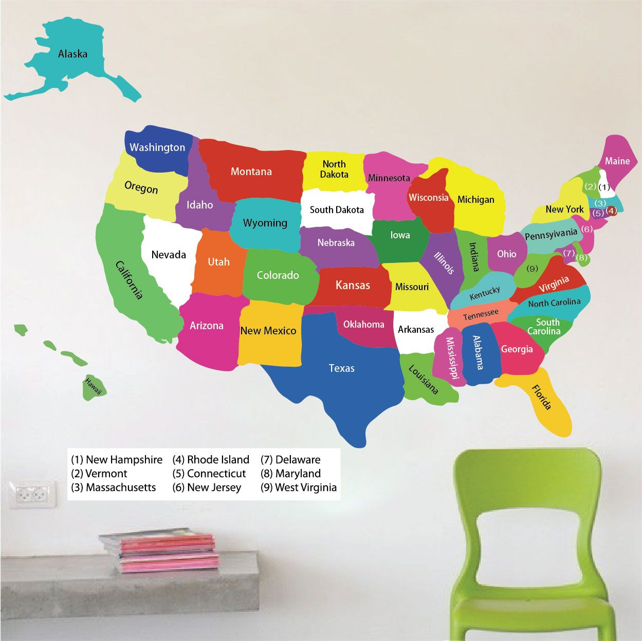 United States Map Wall Decal - Educational Wall Decal Murals ...