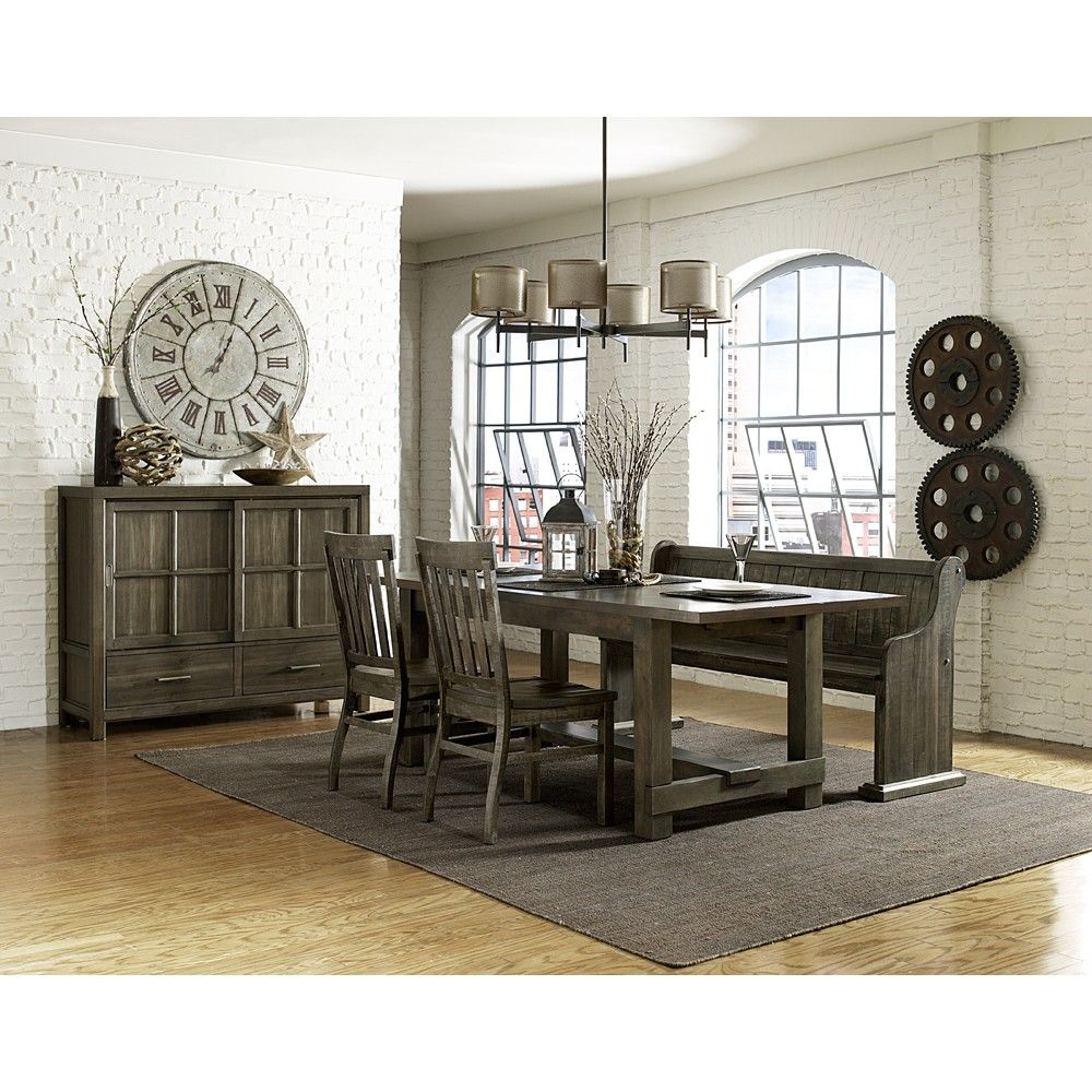 Karlin wood rectangular dining table chairs in dry grey acacia by magnussen home