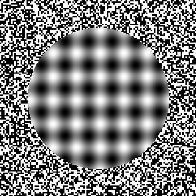 Illusion 23324.   This illusion requires you to move closer and further away from the screen and as you do the black and white fuzzy dots seem to get larger and smaller. This optical illusion relies on visual vibrations to cause the effect. These vibrations are created by placing two complimentary colours next to each other, in this case black and white, making a less than desirable combination for the eye to look at.
