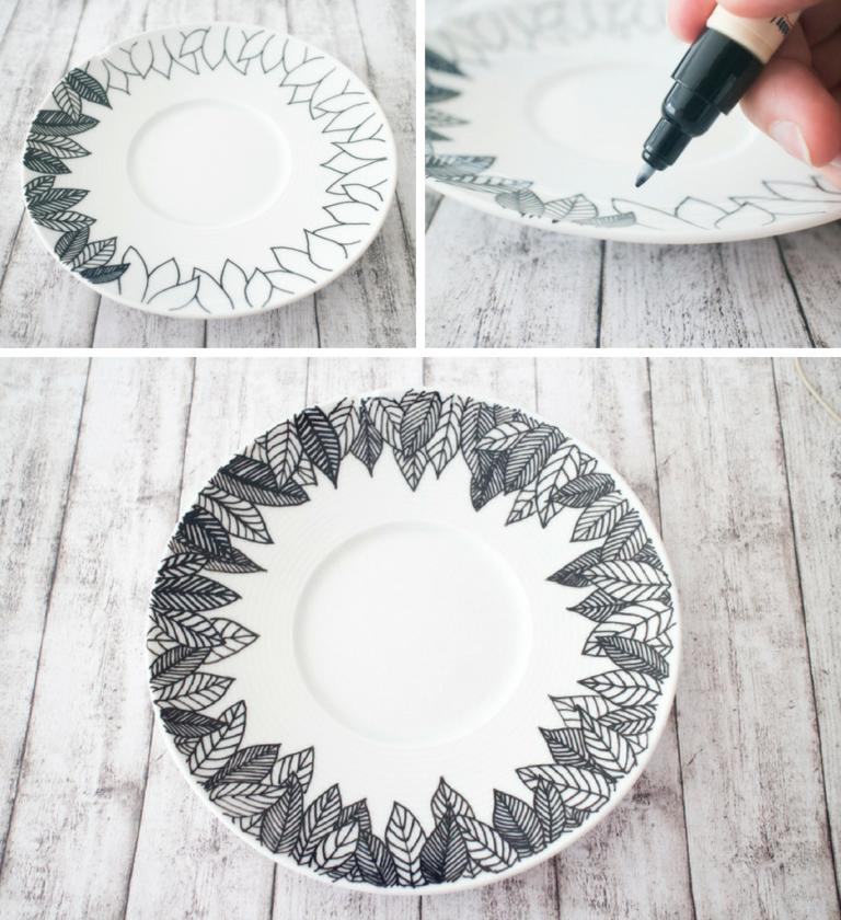Porzellan bemalen mit einfachen Mustern - Paula Pünktchen
