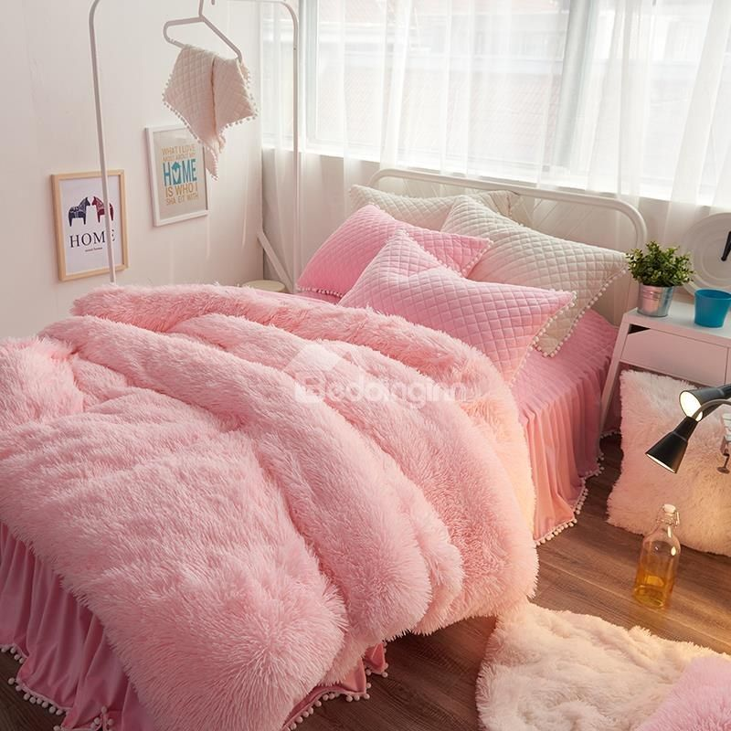e4d490940036b Princess Style Solid Pink with Quilting Bed Skirts Thick 4-Piece Fluffy Bedding  Sets