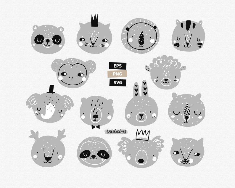 Scandinavian Animal Faces Clipart Set Baby Animal Clipart Baby Etsy In 2020 Animal Clipart Baby Animals Baby Clip Art