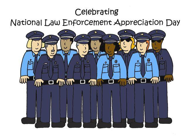 National Law Enforcement Appreciation Day, January 9th, Cartoon. card