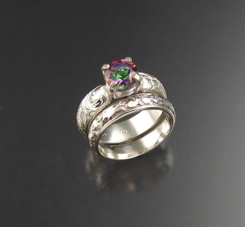 mystic topaz wedding set sterling size 4 - Topaz Wedding Ring
