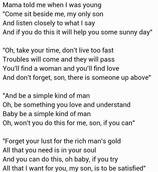 B92e651c6bfb73a6455a0fdd10ec6edb Jpg 660 720 Pixels Simple Man Lyrics Soul Songs Cool Lyrics