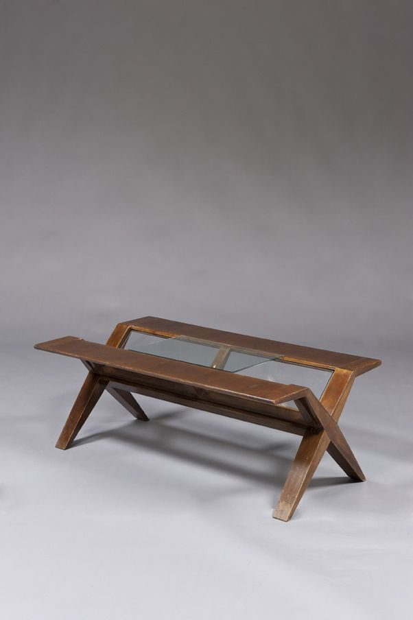 Maxime Old Mahogany Veneer and Glass Coffee Table 1940s TABLED