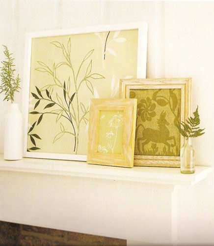 inexpensive wall art. Use coordinating wallpaper in similar shaded ...