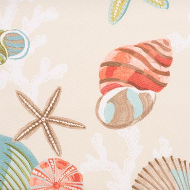 Coral Beach Fabric is a large-scale shell and coral ...