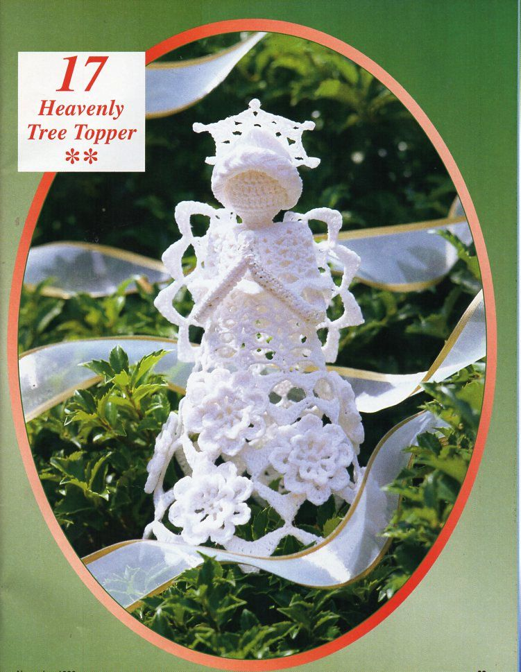 crochet angel tree topper crochet pattern pdf angel christmas tree decoration thread crochet cotton 9 inches tall instant download - Crochet Angel Christmas Tree Decorations