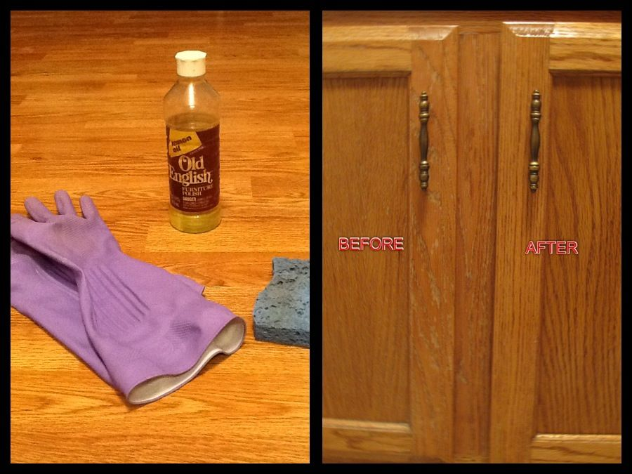 Makeover Your Kitchen Cabinets With Old English Furniture Polish Poor Full Strength Onto A Spong Household Cleaning Tips English Furniture Cleaning Household
