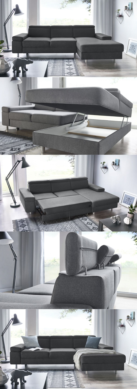 Bobochic Espace Grey Sofa Bed Canape Angle Convertible Canape Angle Canape