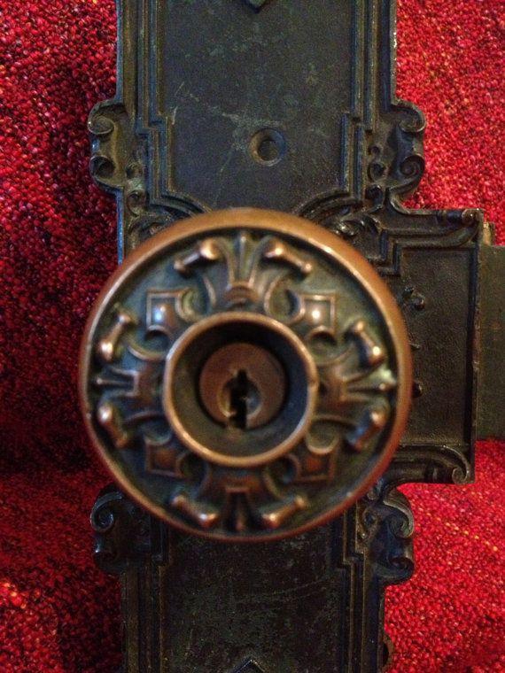 Gorgeous Antique C 1899 Victorian Entry Door Lock Set With 2 Door