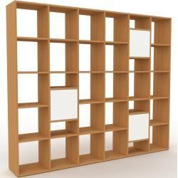 Photo of Bibliotheksregal Eiche – Individuelles Regal für Bibliothek: Türen in Weiß – 233 x 195 x 35 cm, konf