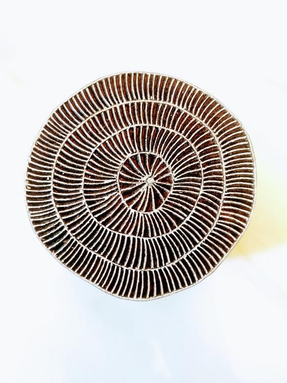 Wonky Circles - Round Hand Carved Indian Wooden Stamp ; Wood Block for Textile Fabric Stamping Henna Pottery DIY #fabricstamping