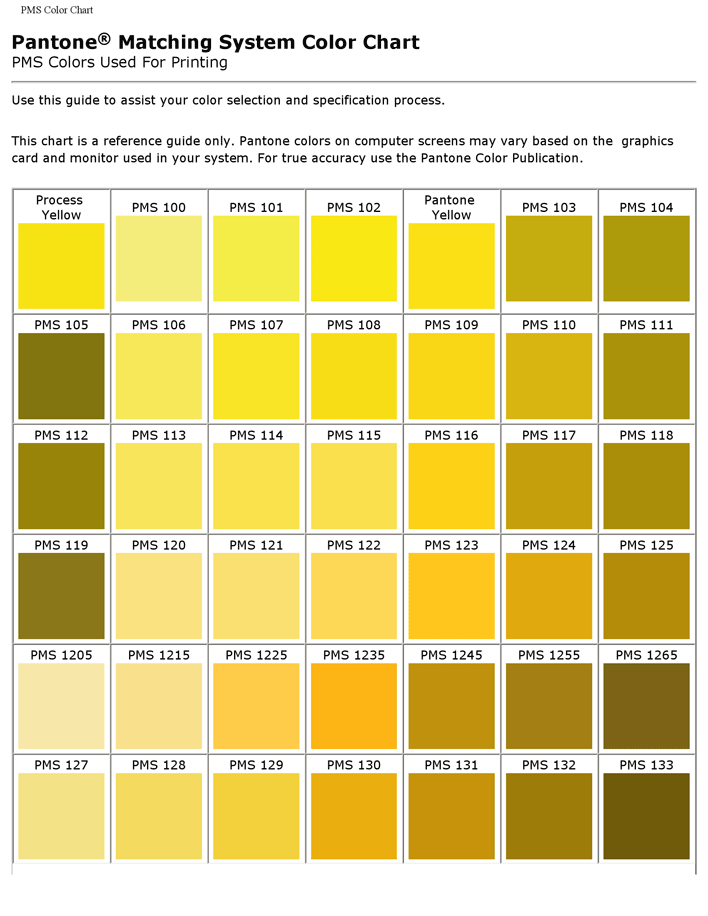 Preview Of One Chart Of The Free Pdf Doc Pantone Matching System