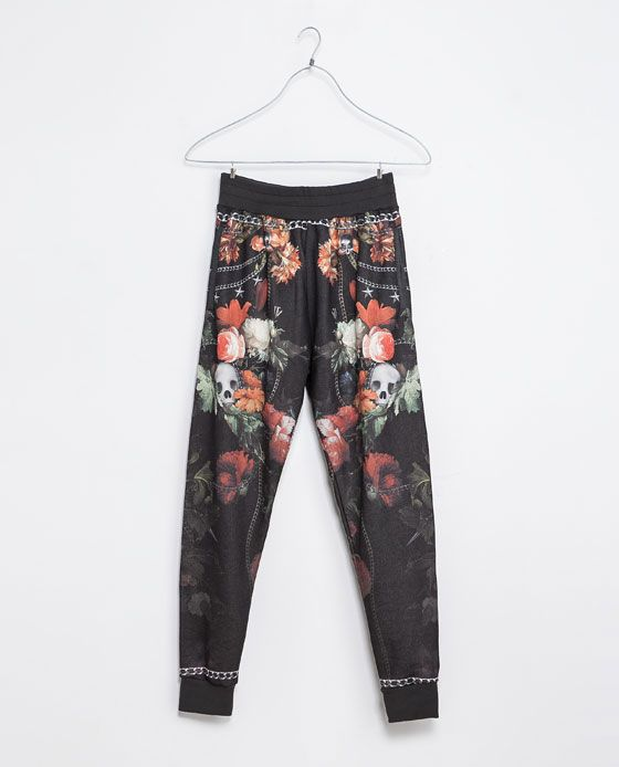 pantalones verdes flores zara hombre